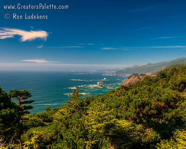 Rugged coastline along Samuel H. Boardman State Scenic Corridor north of Brookings, south of Gold Beach.
