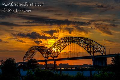 I-40 Bridge over Mississippi River at sunset