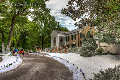 Graceland Mansion with fake snow in July for filming a Hallmark video/movie.