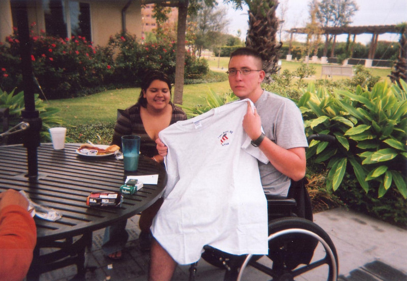 """E-5 Thomas James injured on April 27, 2007 in Samarra, Iraq. James is from Three Rivers, TX where he lives with his wife, Gloria (shown here with James), and son Thomas Lee James, Jr. <br /> <br /> Although this hero lost his left leg and suffered many other injuries, he wants to stay in the Army and be a drill sergeant. According to Rita, """"he definitely has the will for it""""!<br /> <br /> James sends the following message to all his military brothers and sisters, """"I hope you all have a safe deployment and a speedy return. Godspeed, see you on the high ground""""!"""