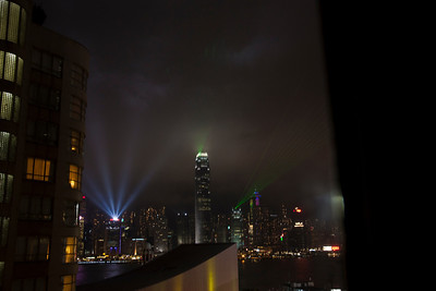 The 8pm light show from the Kowloon side, Hong Kong
