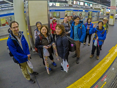 Our guide Joshua. First morning leaving Namba Station, Osaka for the trail head at Nyonindo.