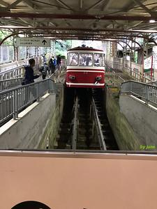 The funicular from Gokurakubashi Station to Koyasan Station.