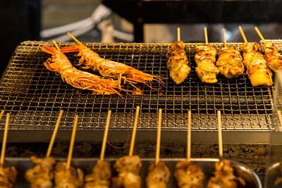 Yakatori shrimp on Dotombori St