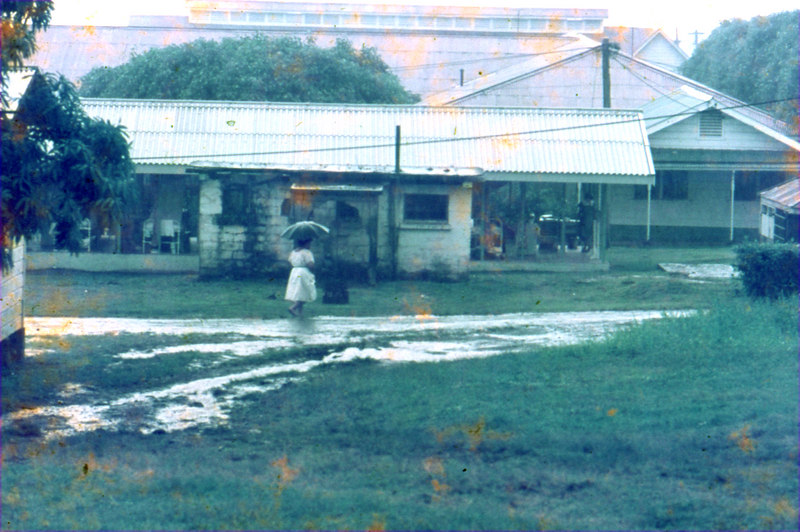The 4 o'clock rain in Apia, Western Samoa, at the general hospital, 1970.