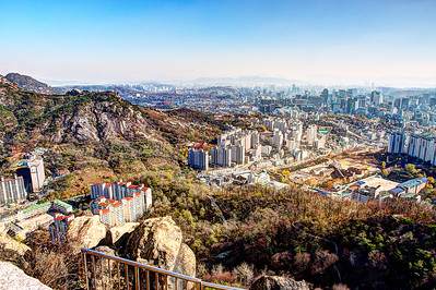 View from Ansan Mountain, hiking up from Bongwon-sa temple