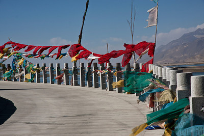 Prayer flags along the Bramaputra River in Tibet, going south to Tse Dong.