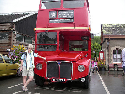 The old red double decker bus at Buckfastleigh