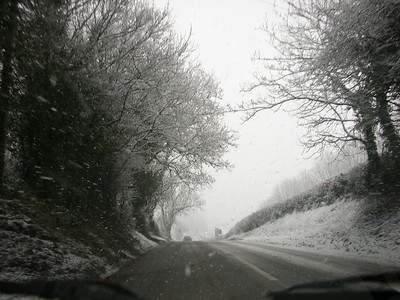 More snow on the way back from our trip to Herefordshire to meet up with our celebrant