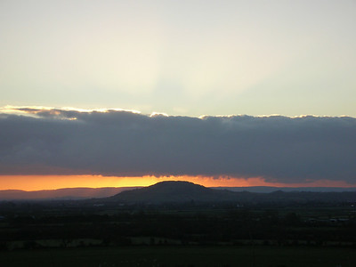 Sunset over Brent Knoll