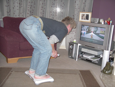 Wii time! Ski jumping - this is just before take off ...