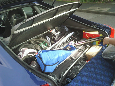 It's amazing what you can fit in the boot of a Toyota Celica (the kitchen sink is at the bottom, just out of view)