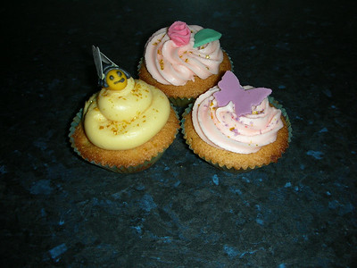 Caroline made these cakes for us - butterfly, bumblebee and a rose!