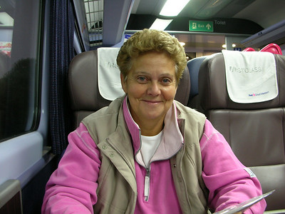 Sue on the train to London - we went shopping with Jimbo and the girls for their dresses for our ceremony