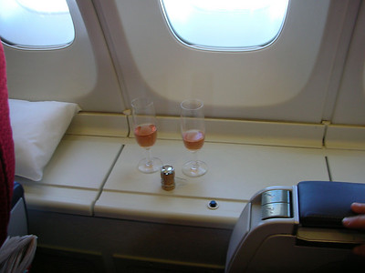 Our friends had arranged champagne on the flight, which was brilliant