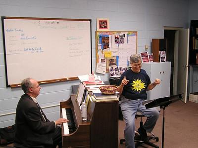 a choir practice, Jay and Tom