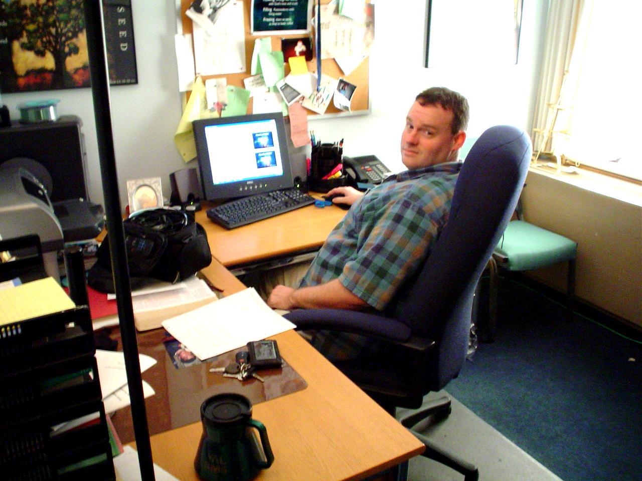 Matt, working on media creation for worship projection. 4/2004.