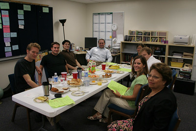 Worship team meeting: part of the mosaic contemporary worship team meets between services to fuel up and prepare for Mosaic 2 (11:30 service), taken 9/2006.