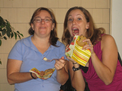 Kathy and Judi take advantage of the yummy desserts provided at the Mosaic Worship Arts party, 9/2006.