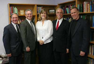 Five CPC Pastors: (L->R) George Antonakos, John Schmidt,    Laura Crihfield, Pat Hartsock, Ron Scates. (Pat and Ron were former CPC pastors. George, John & Laura are our current pastors) photo taken 9/2/2006 at the funeral for Pastor Smoot.