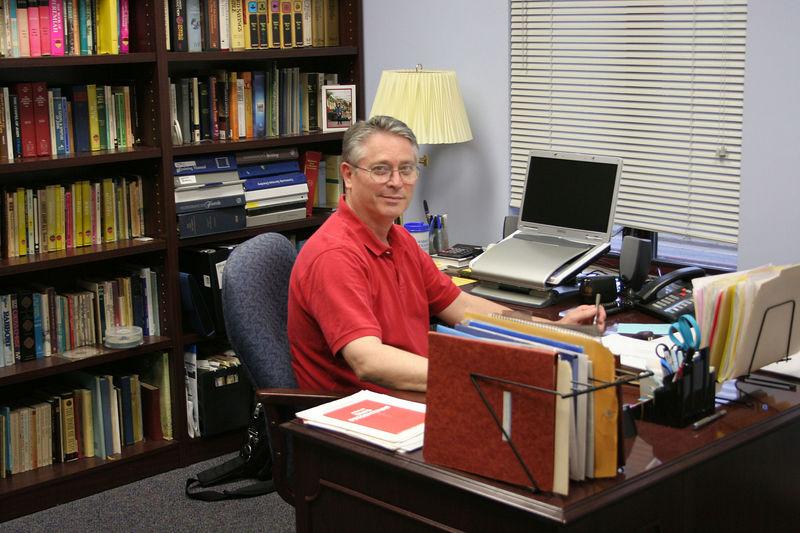 Rev. John Schmidt, in his office,  photo taken 7/2005