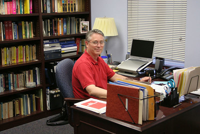 Rev. John Schmidt, in his office,  photo taken 7/2005