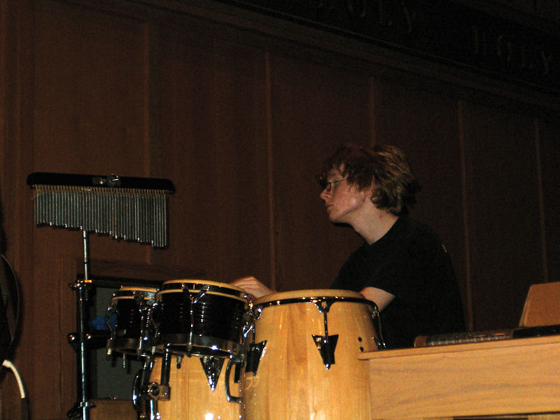 Worship Team - Alec on percussion