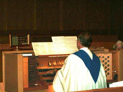 Organist warming up