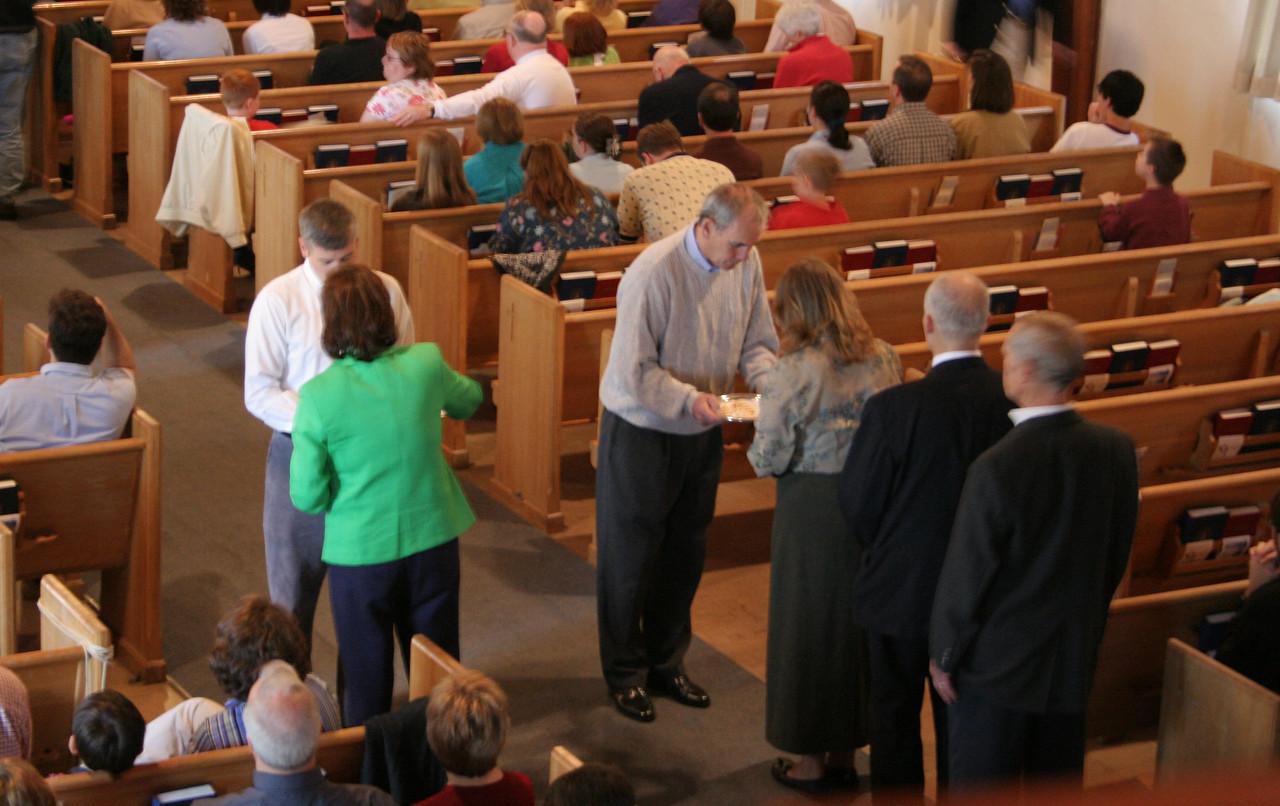 Elders distribute communion, photo taken 5/2005.