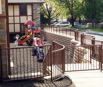The playground for our sunday school and preschool children. Try out that neat ground padding made from shredded tires. Bouncin' The kids love it.
