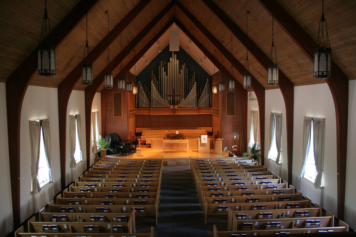 view of the sanctuary from the balcony, during the week