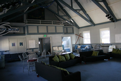 The Loft - a student ministries room. The snack shop is through the doors on the left, sound/projection booth & balcony above.  - a lot more fun with people here...