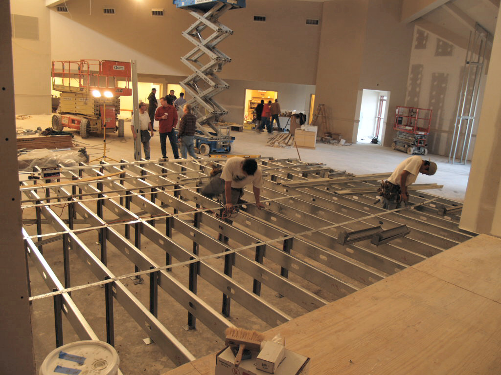12/20/2007: framing the stage in the new worship space