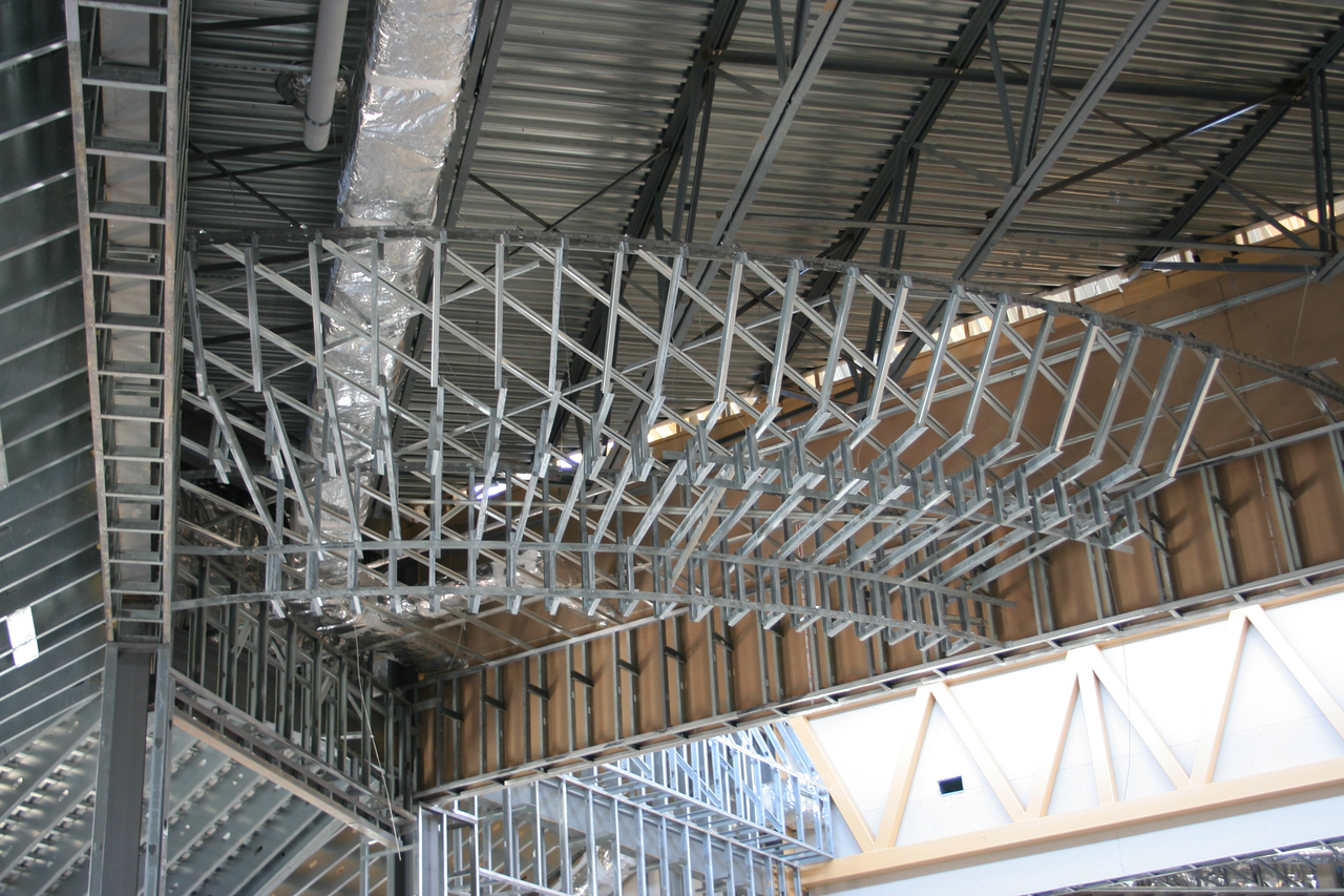 9/30/2007: Worship Center, inside view.  Ceiling framework, support for stage lighting perhaps?