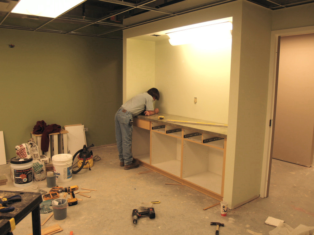 11/5/2007: installing cabinetry in one of the new infant & toddler nursery rooms