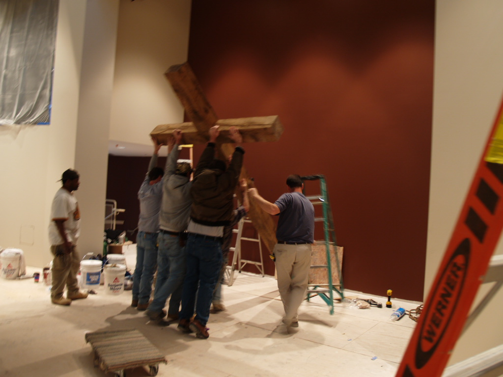 1/17/2008: installing the cross