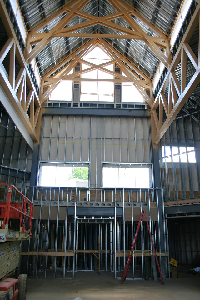 9/16/2007: worship center, inside.  view of the end away from the stage (south east corner).  A 'rear-view' screen will go up here.
