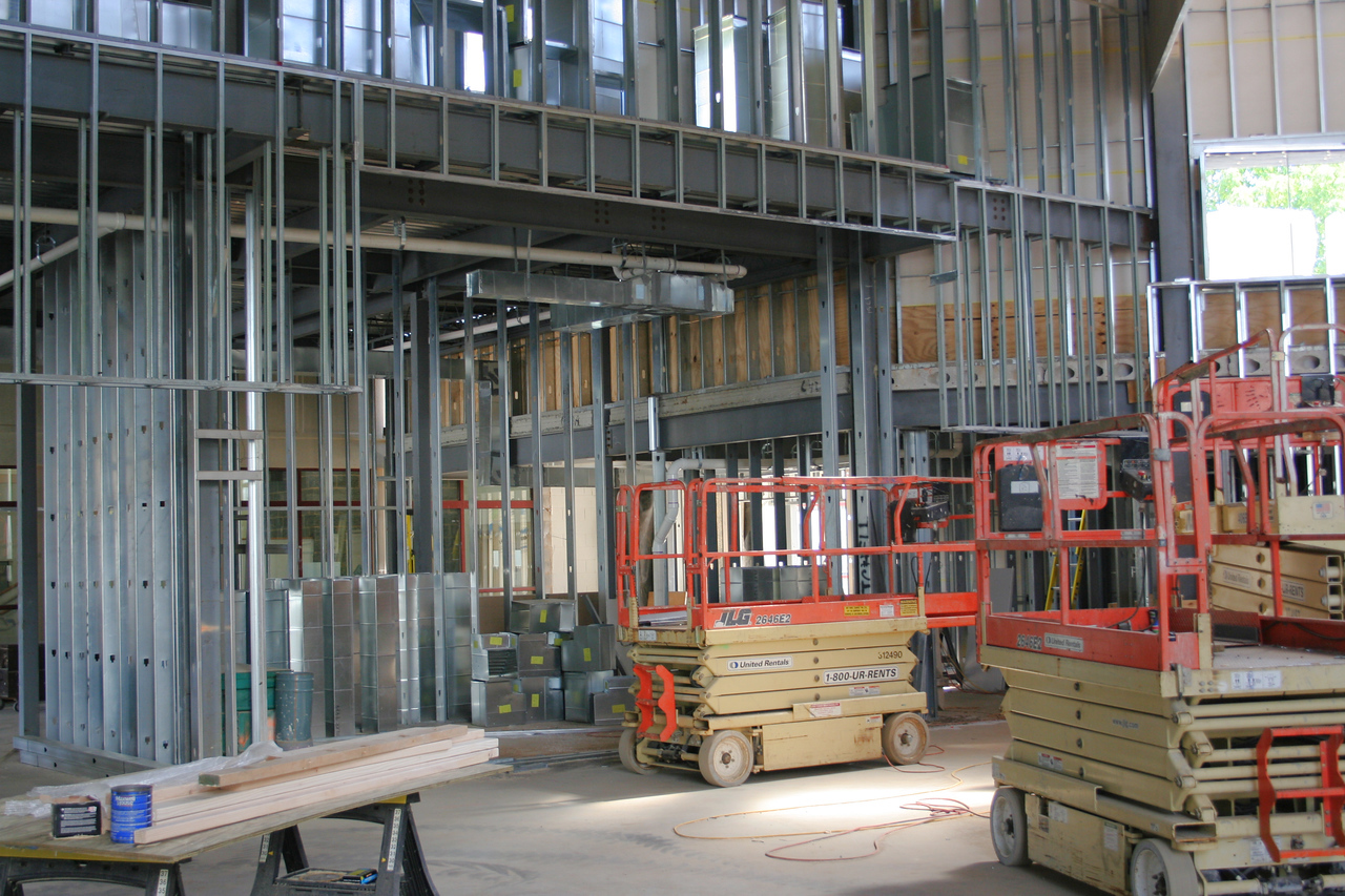9/16/2007: worship center, inside.  View facing east wall, and where the a/v booth will be.