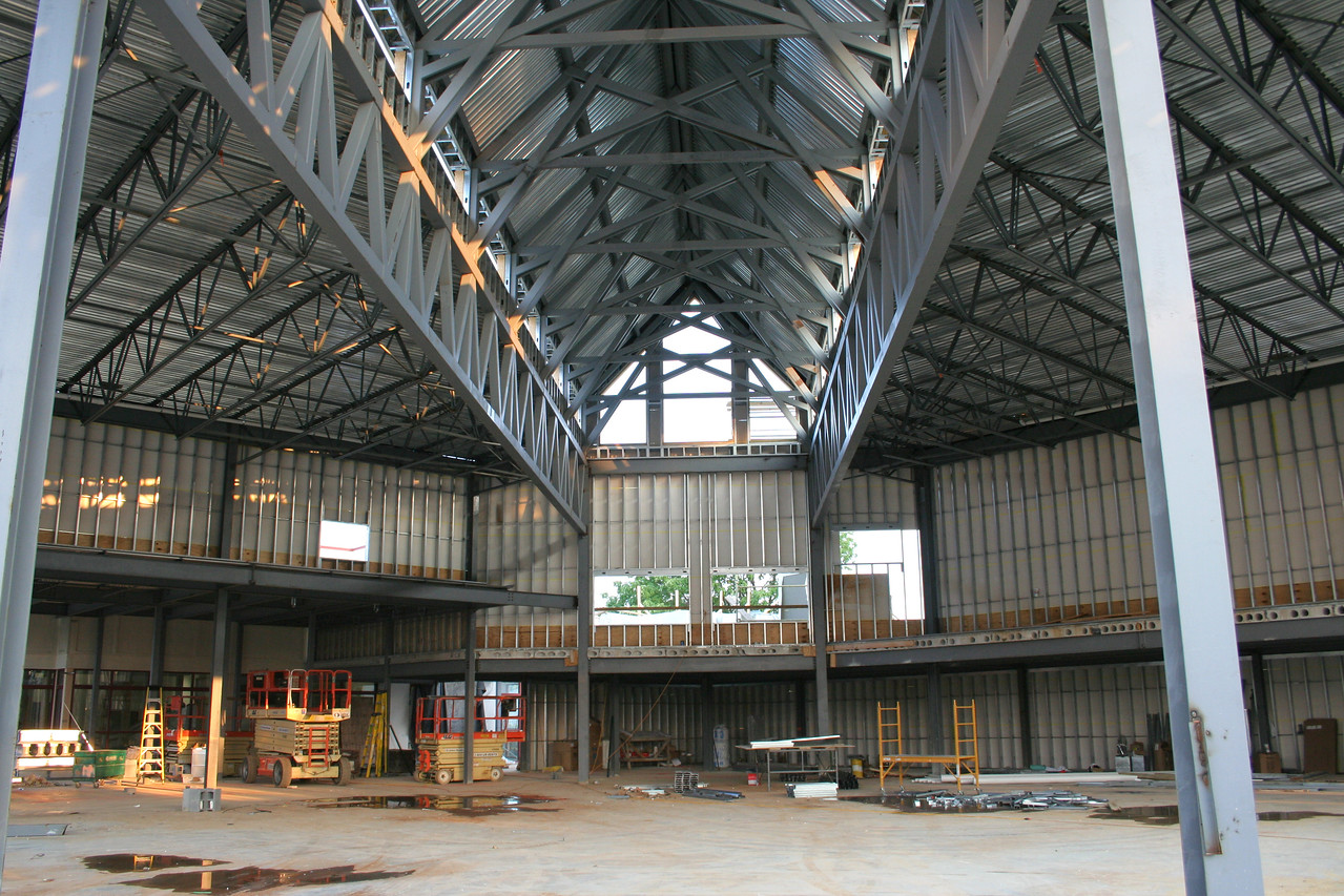 8/28/2007: worship center, from inside, view from about where the stage will be, looking center