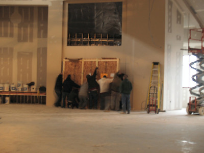 12/17/2007: Bringing in the two screens for the worship space.