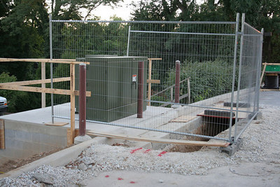 8/21/2006 near the south entrance.  New concrete pad and electrical box.