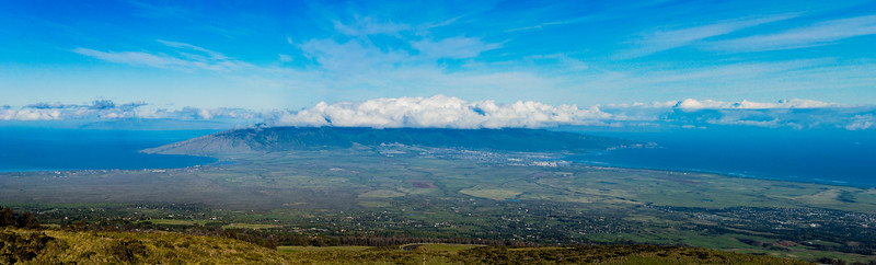 Great panorama of northern side of Maui island on our bike ride down from Haleakala