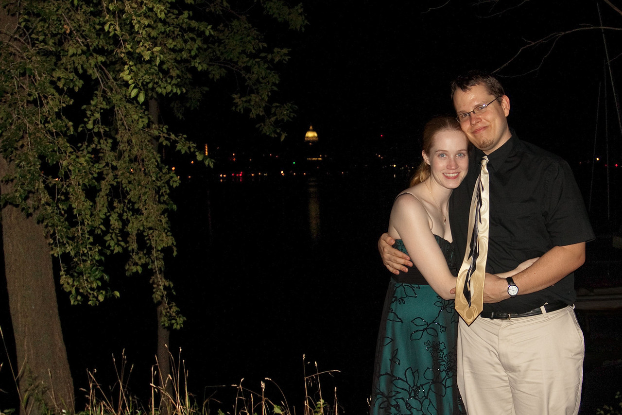 Katie and David with the Madison skyline in the background.  With the camera flash the city lights don't show up as well.