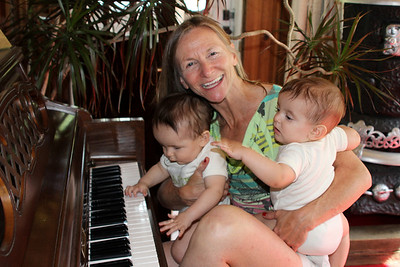 Liam, Jack & Aunt Joan ~ first piano lession