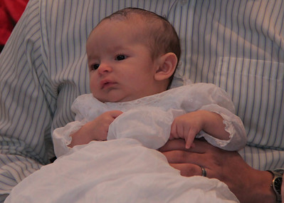 Liam wearing the Keegan Family Christening gown - worn by John's Grandmother, father, uncle, and cousins.