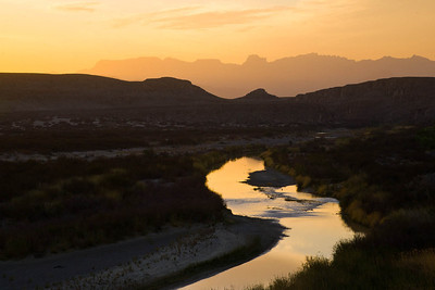Chisos Mountains and Rio Grande River at Sunset