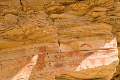 Indian Pictographs on Cliff Face