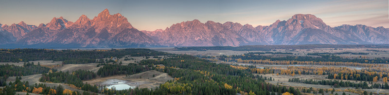Panorama of the Tetons shortly after sunrise.