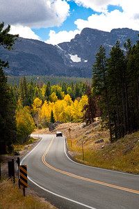 Part of the scenic drive between Sprague Lake and Bear Lake. The aspen color had not yet peaked when we were there in late September.