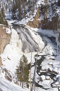 An icy Gibbon Falls.